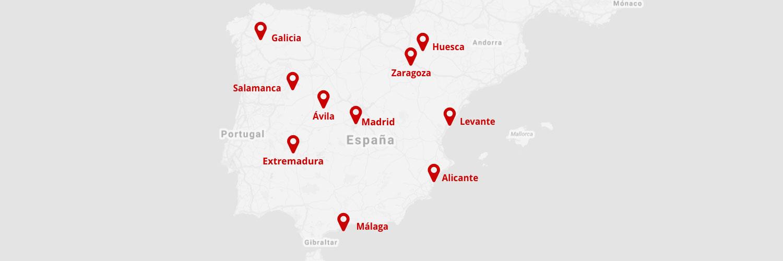 Mapa delegaciones alquiler de autobuses Avanza